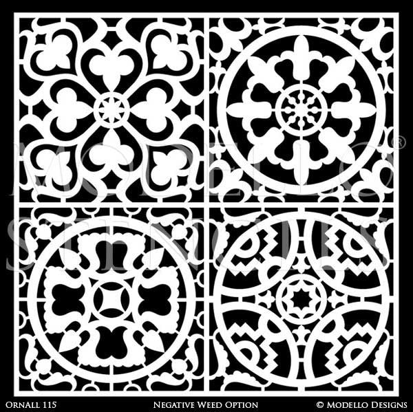 Large Tile Stencils - Modello Custom Stencils for Painting Floors and Walls with European Design