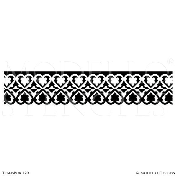 Transitional Border Designs Painted on Custom Wall Mural Art - Modello Border Stencils