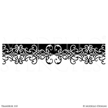 Decorative Wall Finish Painted with Transitional Borders Designs - Modello Custom Stencils