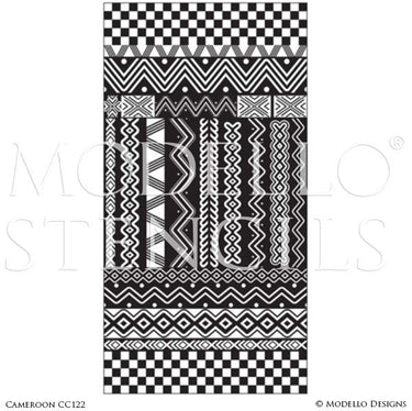 Tribal African Pattern - Painted Floor Rug Carpet Panels - Geometric Custom Stencils for Decorating