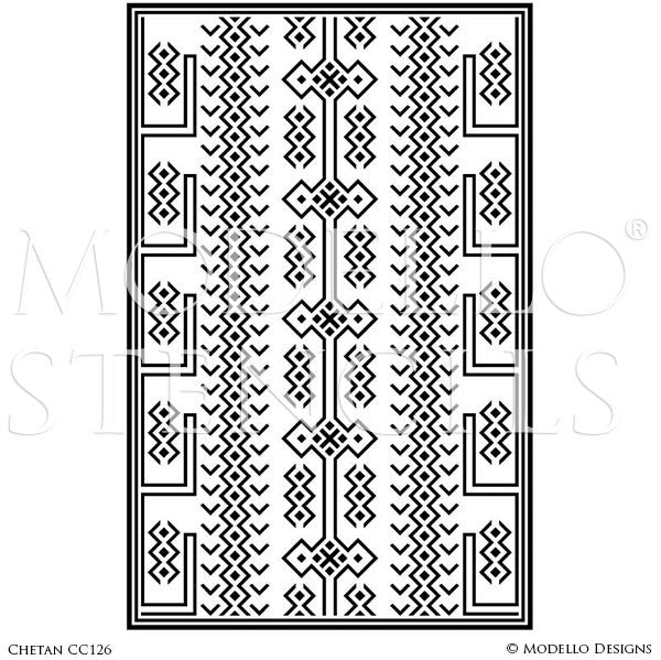 Tribal African Pattern - Painted Floor Carpet Panels - Geometric Custom Stencils for Decorating
