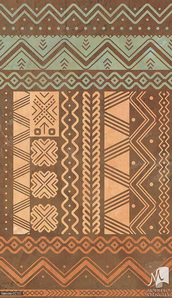 Southwest African Tribal Custom Painted Decor - Geometric Floor Carpet Stencils