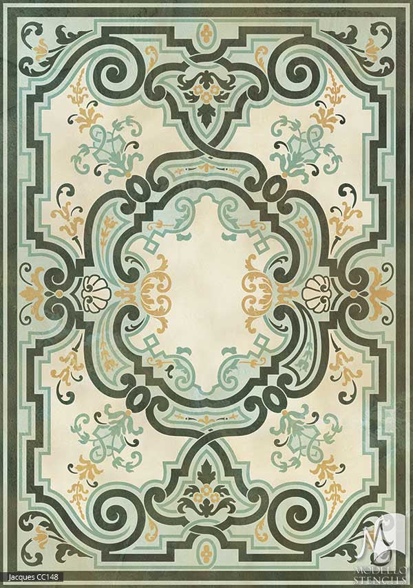 ... Classic European, Victorian, French Ceiling U0026 Carpet Panels   Painted  Decor Custom Stencils ...