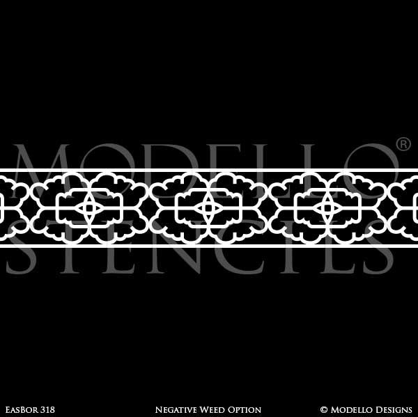Asian Geometric Border Stencils for Painting Decorative Wall Finish - Modello Designs