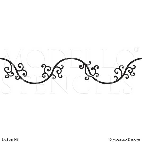 Painted Wall Borders - Modello Custom Stencils for Decorating