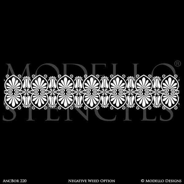 Classic European Border Stencils for Painting Walls and Furniture and Ceilings - Modello Custom Stencils