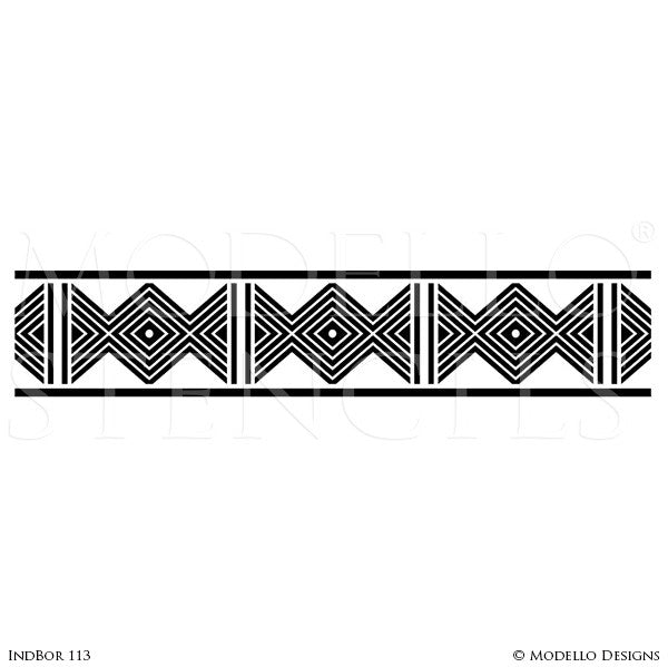 Geometric African and Tribal Pattern for Painted Accent Walls - Modello Custom Stencils
