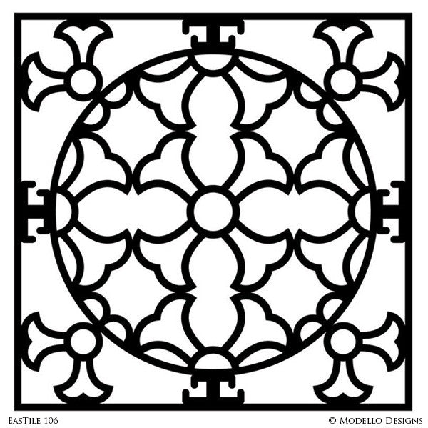 Stenciled Tile Patterns and Exotic Decor with Custom Modello Stencils