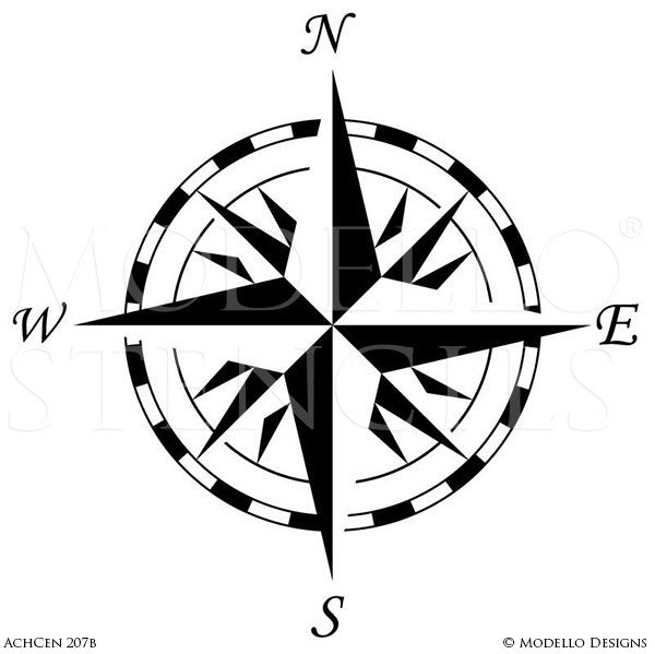Compass Painted onto Decorative Concrete or Wood Floor - Modello Custom Medallion Stencils