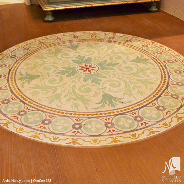 Wood Floors Makeover with Medallion Floor Rug Stencils - Modello Custom Stencils