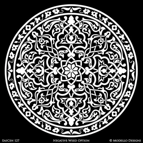 Mandala Design Medallion Ceiling Designs and Large Wall Murals for Custom Interior Decor - Modello Vinyl Stencils