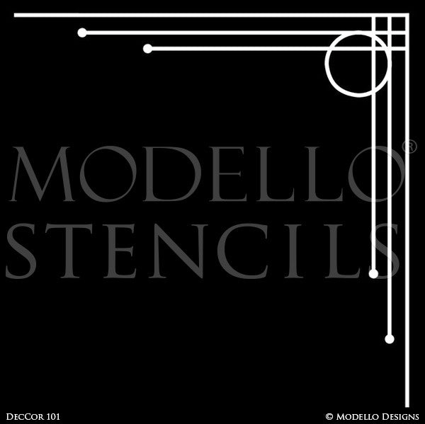 Modern Wall Art or Ceiling Corners for Painting - Modello Custom Stencils