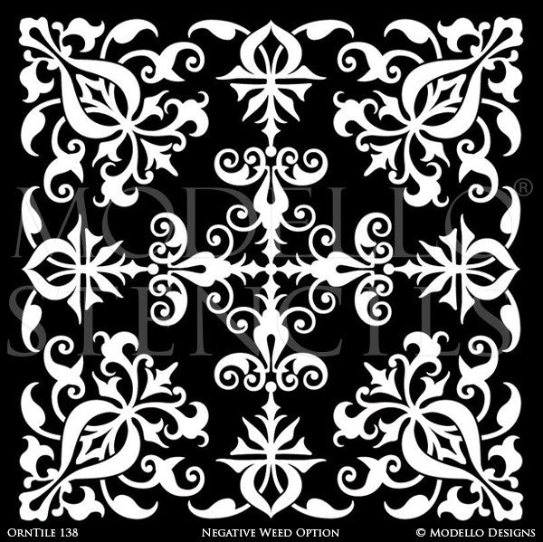 Ornamental Ceiling Decor or Tile Floor Makeover - Modello Custom Tile Stencils