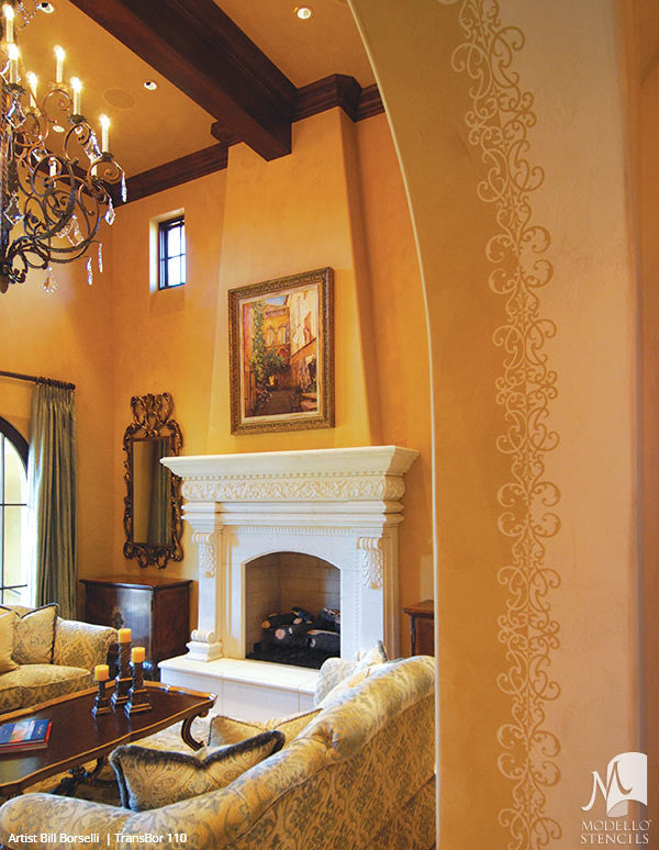 ... Decorative Wall Finish Painted With Transitional Borders Designs    Modello Custom Stencils ...
