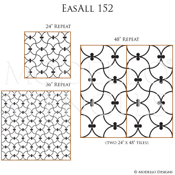 Geometric Shapes Wall Patterns Painted on Floors and Ceilings - Modello Custom Stencils