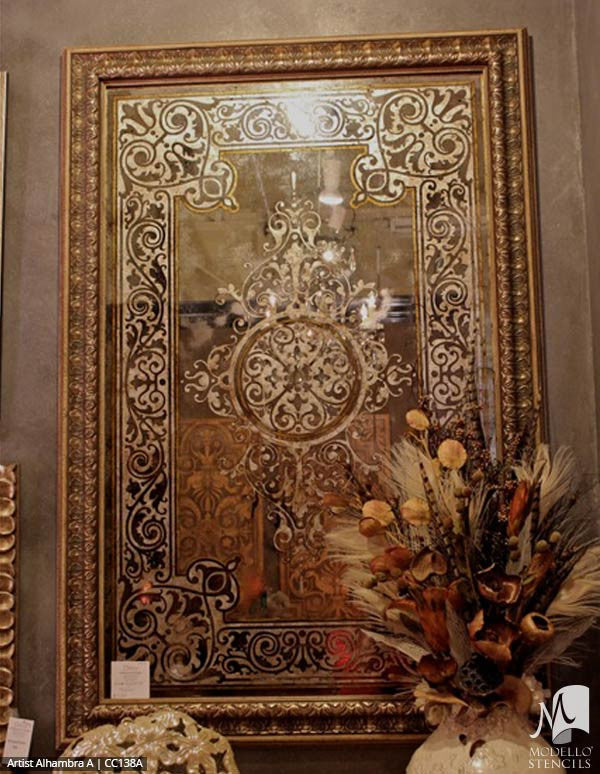 Custom Painted Antique Mirror Art with Custom Modello Stencils
