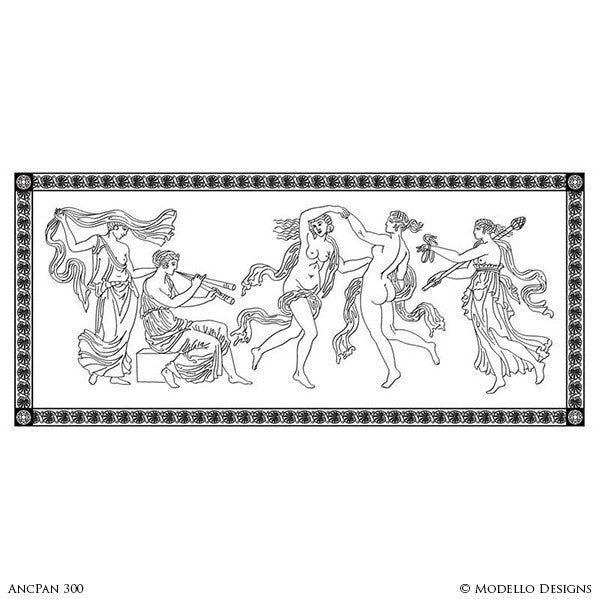 Large Wall Mural Stencils - Stenciled Painted Greek Roman Statues Women Goddesses - Modello Custom Stencils for Painted Walls & Furniture Projects