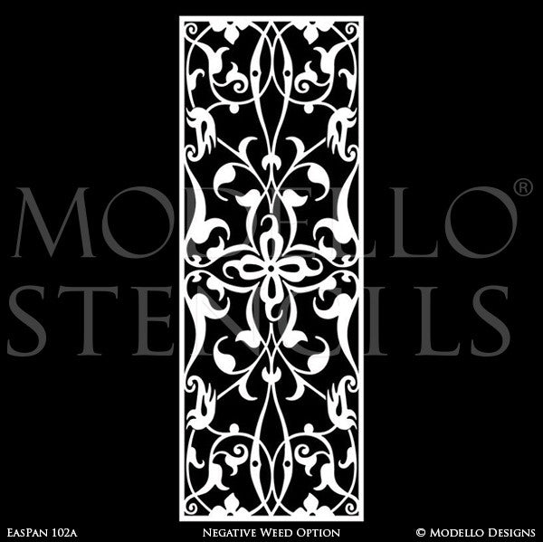 Professional Painted Wall Panel Glass Mirror Stencils - Custom Modello Stencils