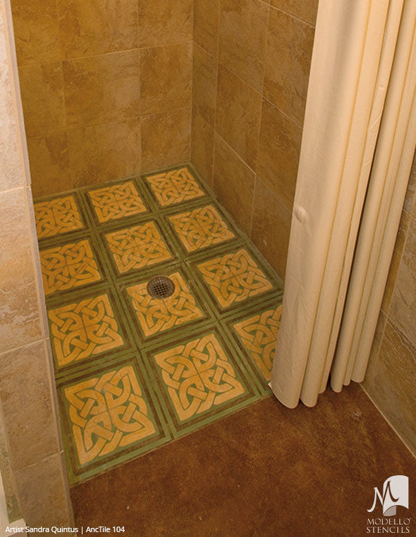 Bathroom Floor Tiles - Custom Modello Stencils for Home Decor
