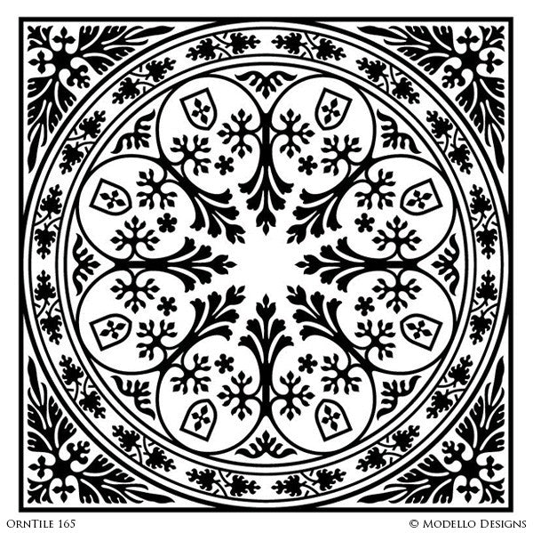 Classic Ornamental Wall Mural Tiles with Square Patterns - Custom Modello Stencils