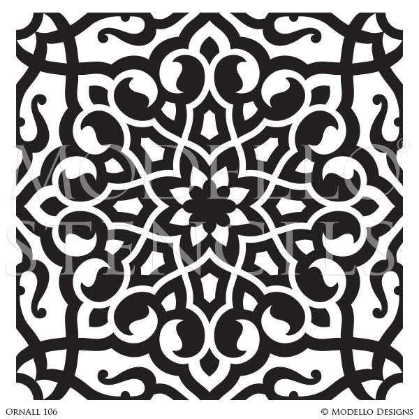 Moroccan, Asian, Indian Decor Ideas and Exotic Interiors - Custom Wall Art and Painted Tile Stencils