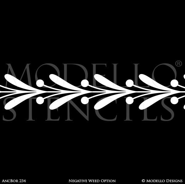 Traditional Border Designs for Wall Mural Painting Projects and Decorative Ceilings - Modello Custom Stencils