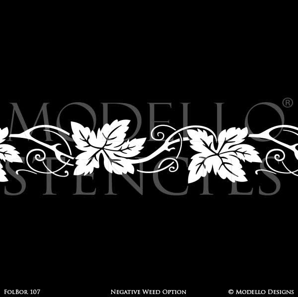 Nature Leaves Vines Stencils - Custom Modello Border Stencils for Painting