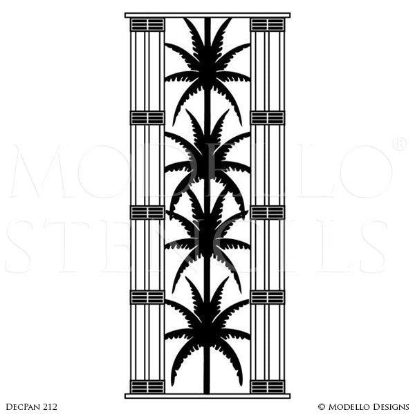 Art Deco Palm Fronds Leaves - Large Wall Art Panel - Decorative Custom Stencils from Modello Designs