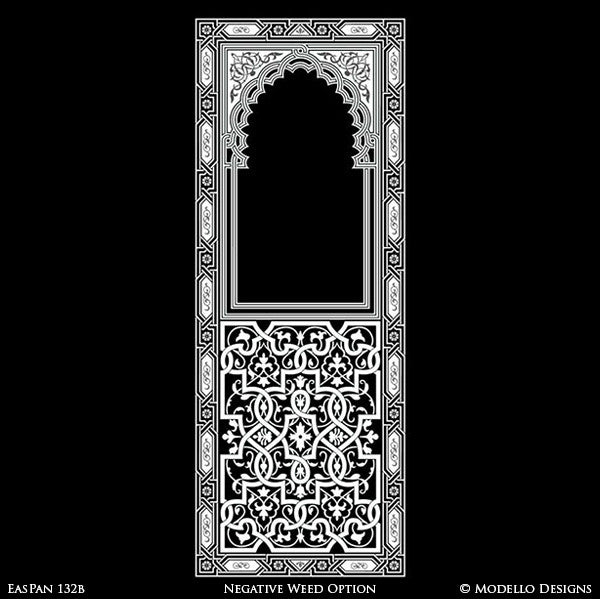Moroccan, Asian, Indian Door Way or Archway Design - Painted Boho Chic Door Wall Panel Stencils - Modello Custom Colorful Stencils