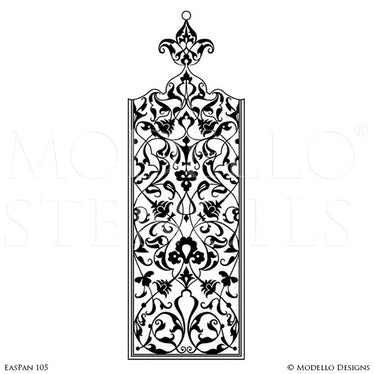 Moroccan Asian Indian Design and Interiors - Painted Wall Panel Patterns - Modello Custom Stencils for Decorating Walls, Ceilings, Floors