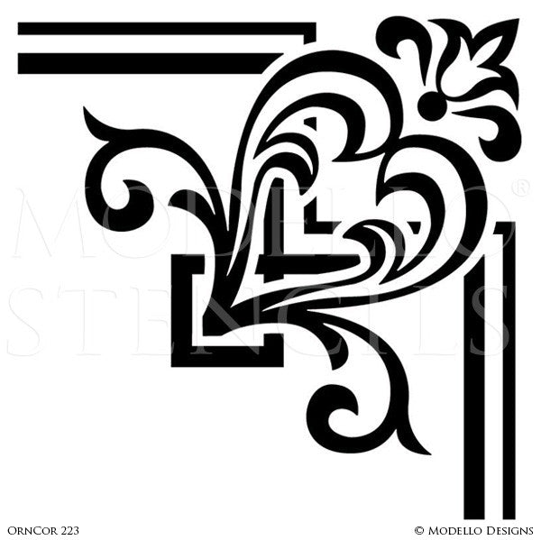 Traditional Corner Designs for Wall Mural Painting - Modello Custom Stencils