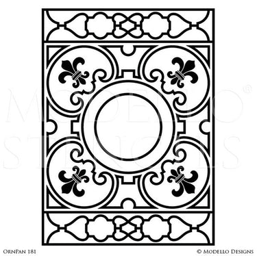Grand Painted Ceiling Stencils or Painted Antique Mirror Window Glass Panels for Custom Decorating - Modello Custom Stencils