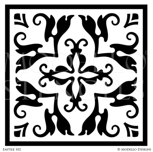 Exotic Asian Decor and Vine Pattern on Painted Tile Stencils - Modello Custom Stencils