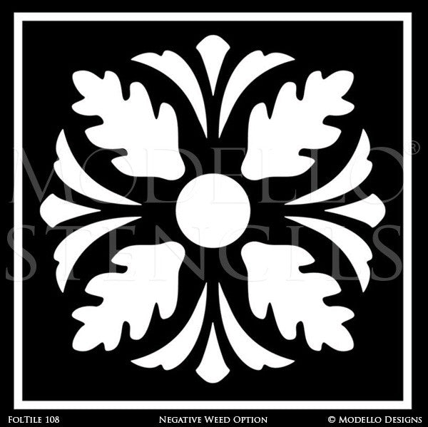 Traditional Foliate Designs for Wall Mural Painting - Modello Custom Stencils