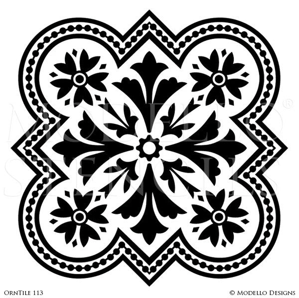 Tile Stencils For Custom Painted Floor Walls Ceiling Modello Cool Decorative Tile Designs
