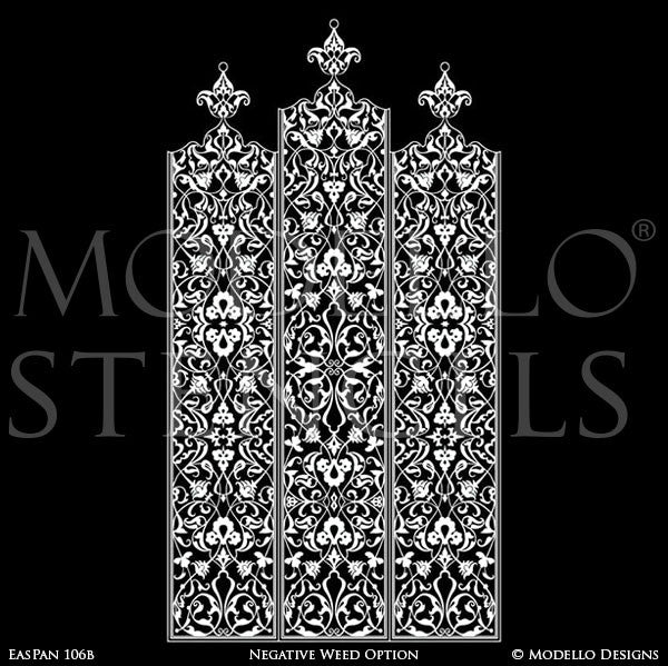 Tall Wall Panels Borders for Decorative Painting - Eastern Oriental Moroccan Indian Designs - Modello Custom Wall Art Stencils