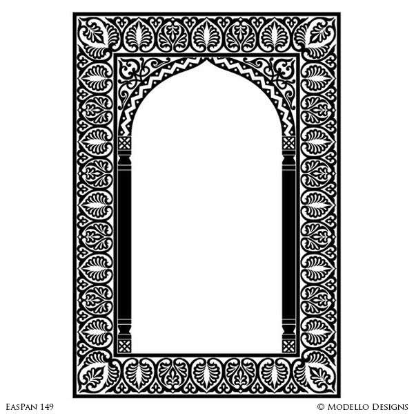 Moroccan Moorish Archway Doorway Design - Custom Painted Bohemian Wall Panel Patterns and Antique Mirror Glass - Modello Custom Stencils