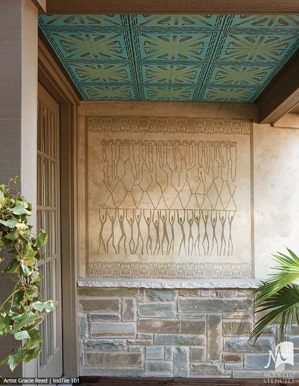 Exotic and Global Chic Decor Idea - Painted African Designs and Tribal Tile Stencils from Modello Custom Stencils