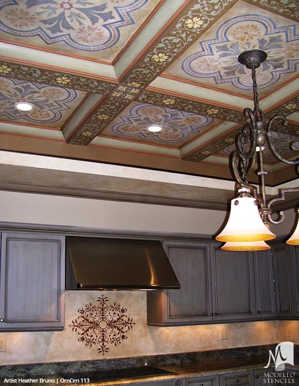 Painting Decorative Tile Designs on European Style Ceilings - Modello Custom Stencils