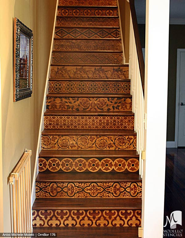 Painted Wood Floor Stairs with Stenciled Border Designs - Modello Custom Stencils