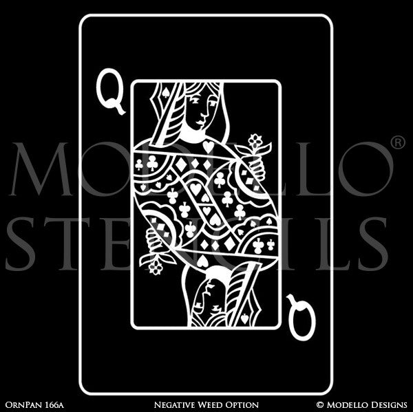 Queen of Hearts Playing Card Wall Art - Decorative Wall Mural Graphics Stencils - Modello Custom Stencils