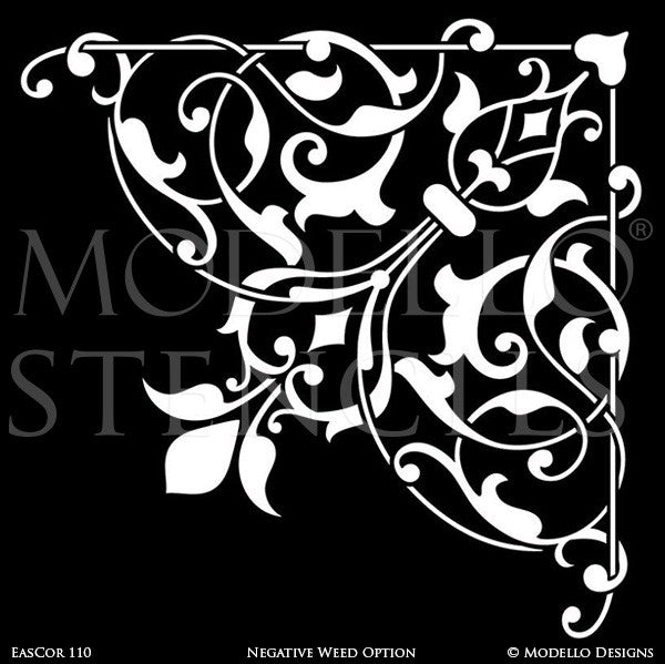 Asian, Moroccan, Indian Inspired Home Decor and Large Wall Corner Ceiling Corner Stencils - Modello Custom Stencils Designs