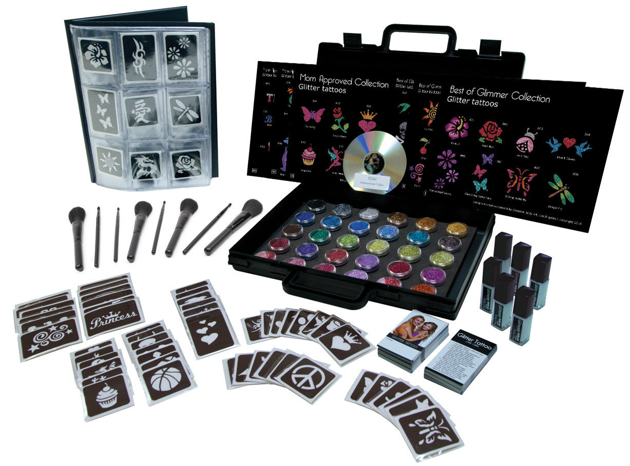 glitter tattoo pro kit business set with case stencils w dvd new 452 pcs party ebay. Black Bedroom Furniture Sets. Home Design Ideas