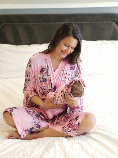 Botanical Pink Floral Maternity Robe & Matching Swaddle or GOWN Set | 3-Piece - Aspen Lane