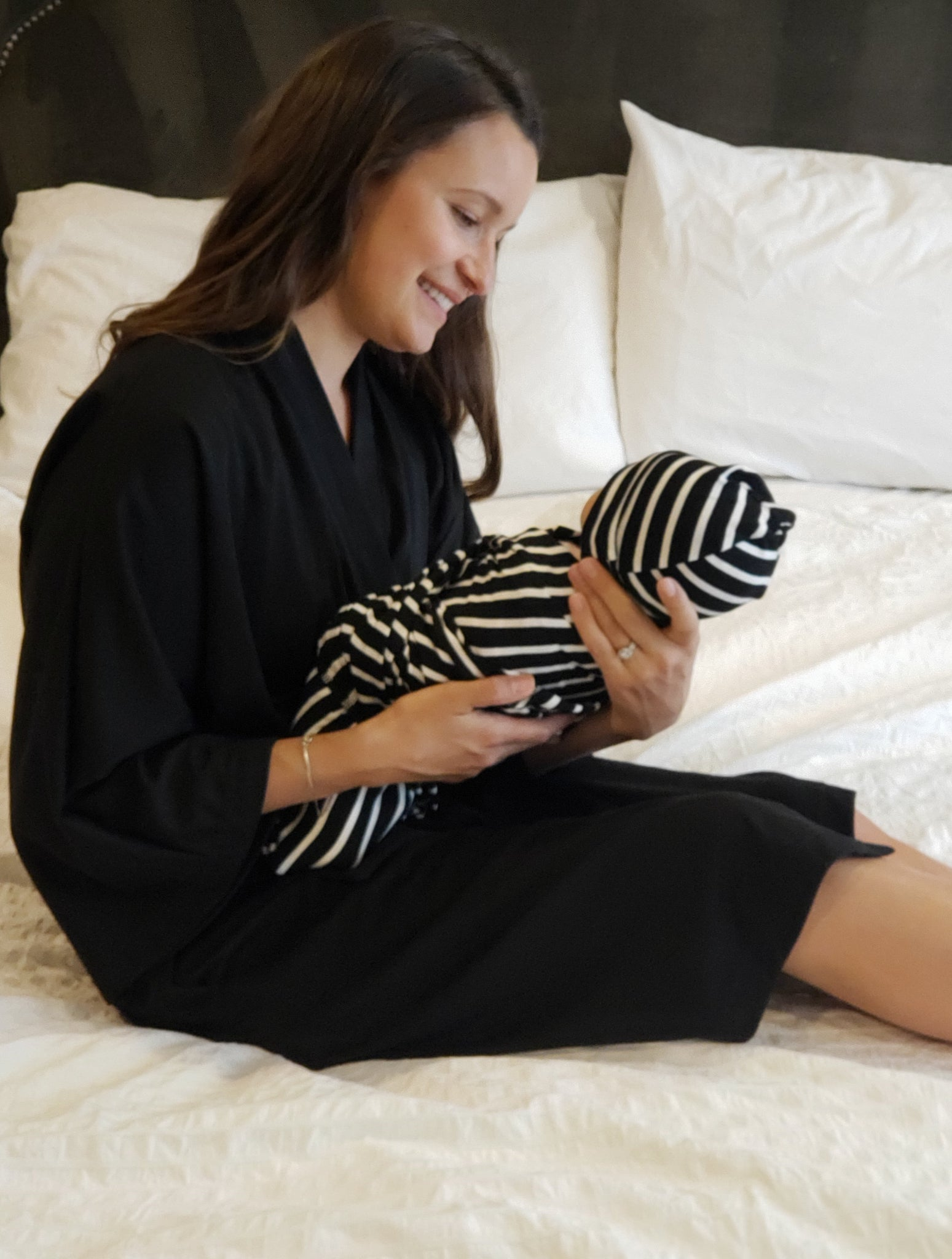Black Maternity Robe & Stripe Swaddle Set | 3-Piece - Aspen Lane