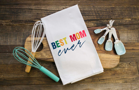 Best Mom Ever Colorblock Flour Sack Towel