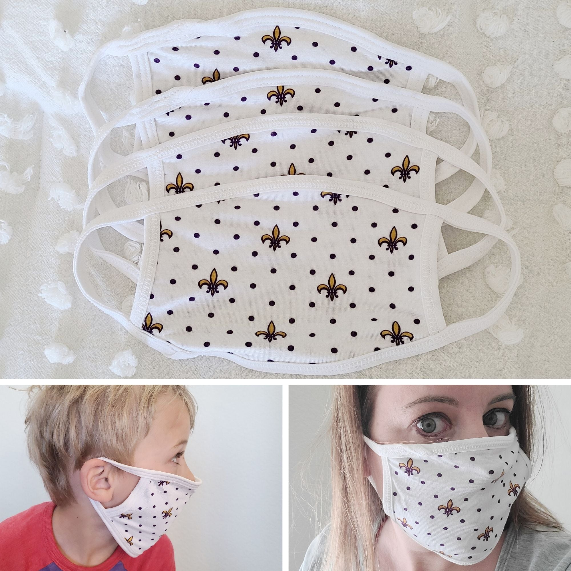 Fleur de Lis Purple & Gold Cloth Mask Face Covering | Kids + Adults - Aspen Lane