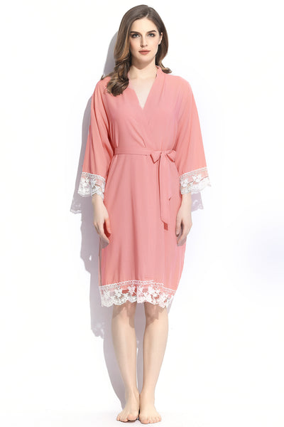 Solid Robes with Lace Trim  // ONE SIZE or PLUS// 6 Colors to Choose From - Aspen Lane