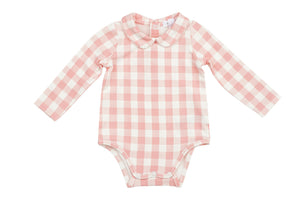 Gingham Pink Bodysuit w/ Peter Pan Collar
