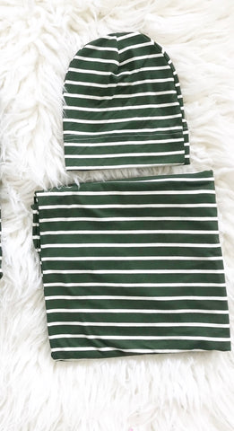 Green Stripe Swaddle Blanket + Hat Set - Aspen Lane